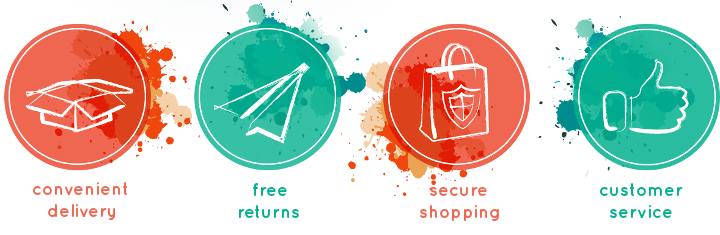 convenient delivery, free returns, secure shopping, customer service